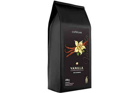 Caffeluxe - 3 Packs of 250g Ground Coffee Caramel, Hazelnut or Vanilla - Save 0%