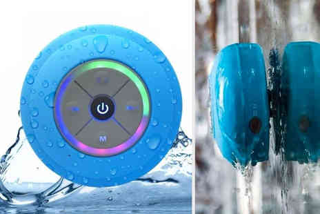 Arther Gold - Multi colour LED Bluetooth shower speaker with suction cup - Save 0%