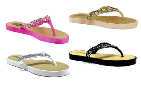 Shoe Fest - Pair of diamonte flip flops choose from four colours - Save 0%