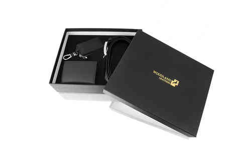 Woodland Leathers - Real leather belt, wallet and key case gift box - Save 52%