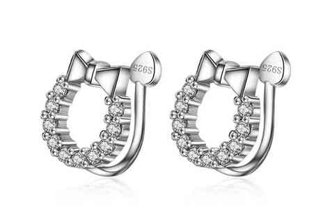 GENOVA INTERNATIONAL - Cubic zirconia silver 925 earrings with ear hole free - Save 80%