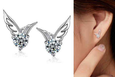Styled By - Pair of angel wing crystal stud earrings - Save 82%