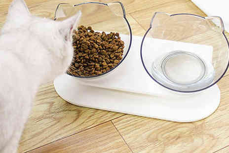 SecretStorz - Double Cat Ears Food Bowl With Stand - Save 63%