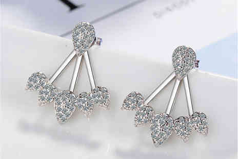 Styled By - Pair of crystal cluster leaf summer earrings - Save 86%