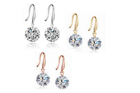 Styled By - Pair of crystal drop earrings choose gold, rose gold or silver - Save 76%