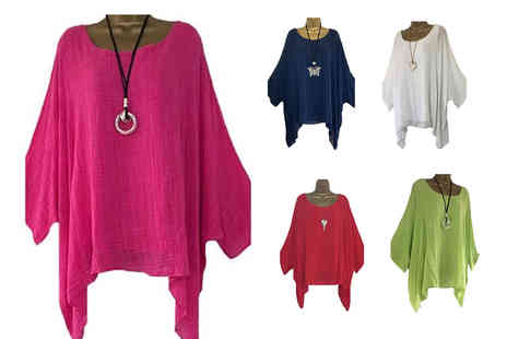 YelloGoods - Womens loose linen kaftan summer top choose from seven colours - Save 60%