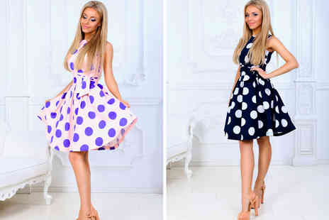 hey4beauty - Polkadot A line swing dress choose from two colours and four sizes - Save 60%