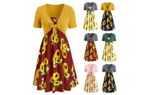 Domo Secret - Sunflower dress with a front knot cardigan - Save 70%