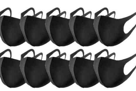 Groupon Goods Global GmbH - 10 Pack of Black Reusable Face Masks - Save 0%