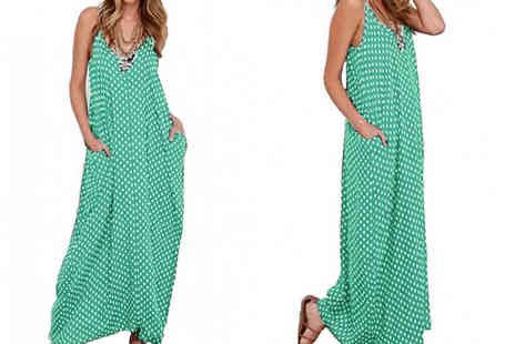 My Blu Fish - V Neck Loose Polka Dot Maxi Dress - Save 50%