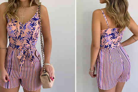 My Blu Fish - V Neck Tie Waist Summer Playsuit - Save 43%