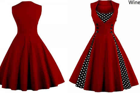 My Blu Fish - 50s Style Polka Dot Detail Swing Dress - Save 50%