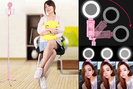 hey4beauty - 1.2m 3 in 1 adjustable selfie stick beauty ring light with remote control - Save 55%