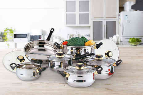Direct2Public - 12 piece stainless steel saucepan set - Save 0%