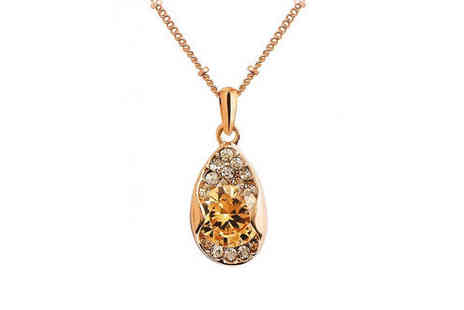Your Ideal Gift - Rose gold plated leaf pendant made with crystals - Save 0%