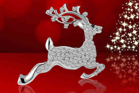 Your Ideal Gift - Reindeer brooch made with crystals - Save 88%