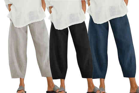 Domo Secret - Womens elasticated waist casual summer trousers - Save 73%