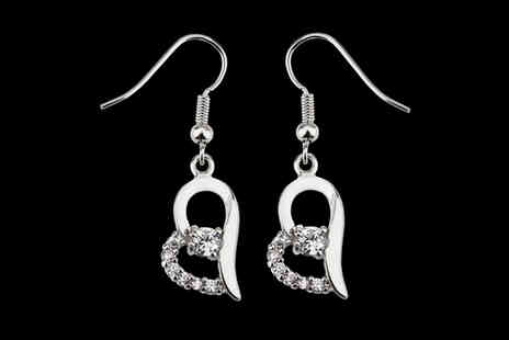 Your Ideal Gift - Pair of heart shaped earrings made with crystals - Save 0%