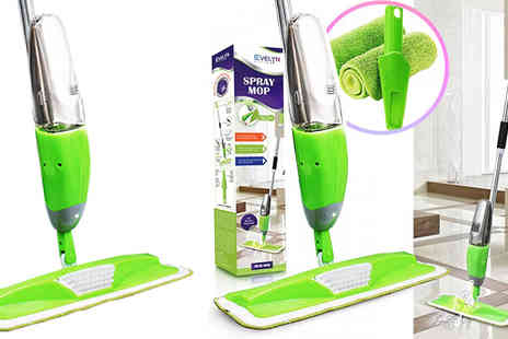 Fusion - 3 in 1 Magic Microfibre Spray Mop With Scraper Plus 2 Replacement Heads - Save 83%