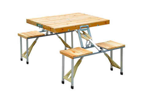 Mhstar - Outdoor foldable wooden table set - Save 50%