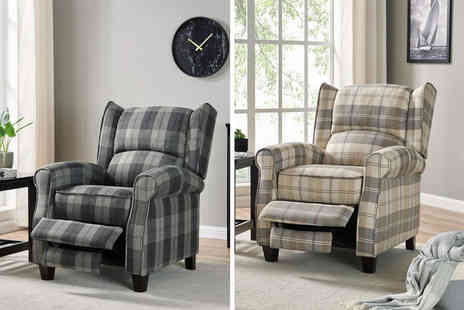 UK Furniture Zone - Nairn tartan recliner wingback lounge chair - Save 58%
