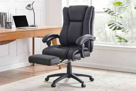 UK Furniture Zone - Black PU reclining swivel office chair - Save 58%