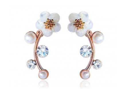 Elle and Be - Crystal and Pearl Daisy Climber Earrings - Save 79%