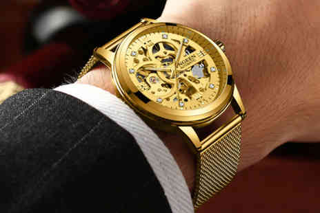 Taylors Jewellery - Mens luxury automatic gold mesh watch - Save 0%