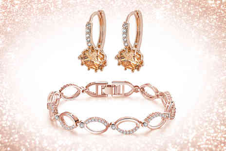 Gemnations - Multi linked rose gold chain bracelet and hoop earrings made with crystals - Save 0%