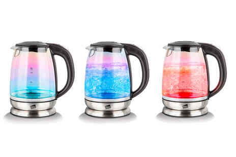Home Empire - Neo iridescent rainbow glass and colour changing Led kettle - Save 69%
