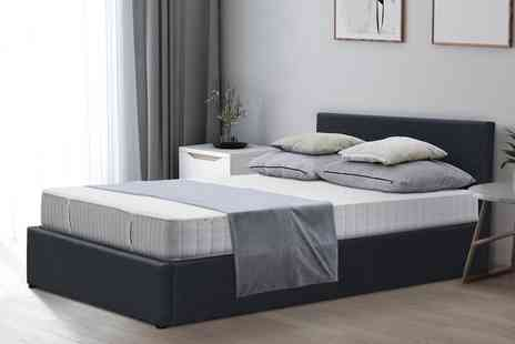 Direct Sourcing - Single grey fabric gas lift ottoman bed frame - Save 0%