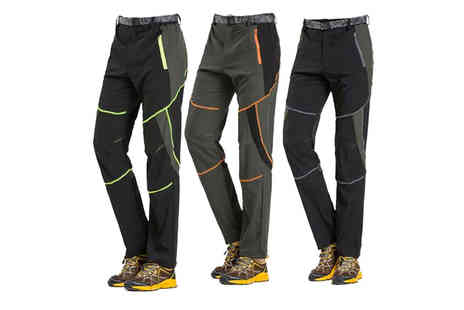Domo Secret - Pair of mens quick dry hiking trousers with belt - Save 75%