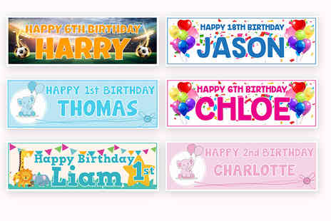 DecoMatters - 1, 2, 4 or 6 personalised birthday banners - Save 80%