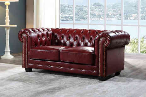 Furniture Instore - Chesterfield brown bonded leather sofa - Save 0%