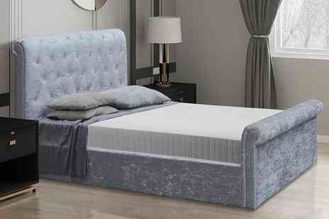 Direct Sourcing - Small double crushed velvet ottoman bed frame - Save 0%