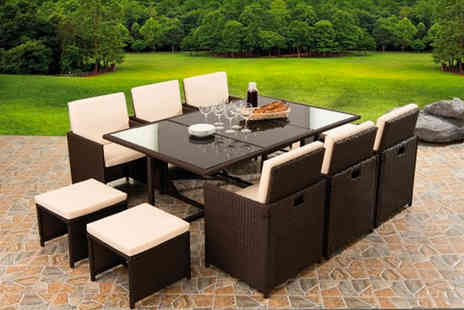 Black Feather - 10 Seater durable polyrattan garden furniture set - Save 68%