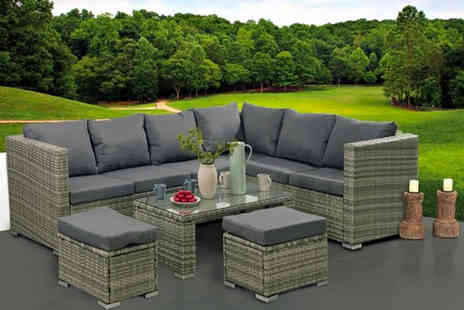 Black Feather - Eight Seater durable polyrattan garden furniture set - Save 65%
