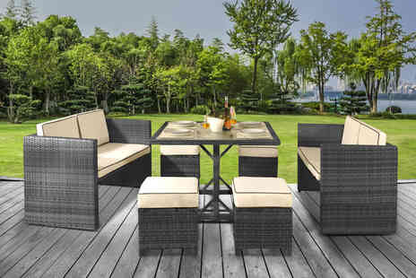 UKFurniture4U - Eight seater Haiti polyrattan garden furniture set - Save 48%