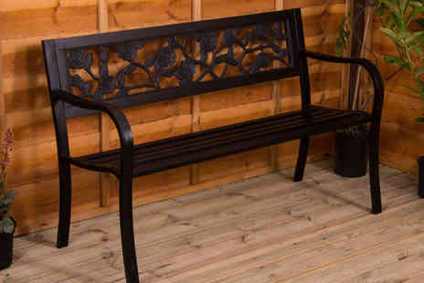 Home Discount - Black steel garden bench - Save 0%