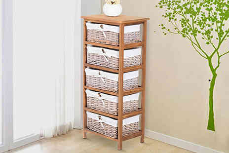 Mhstar - Five drawer woven wicker basket storage unit - Save 40%