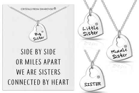 Silver Supermarket - Sister necklace made with Crystals - Save 63%