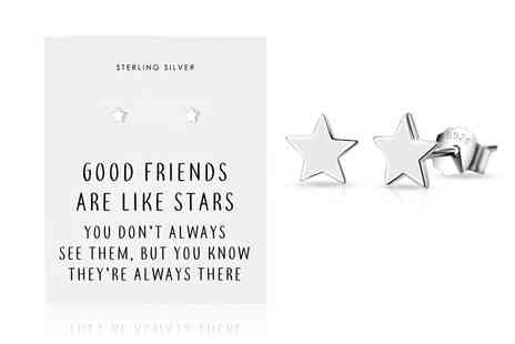 Philip Jones - Pair of sterling silver friendship quote star earrings - Save 0%