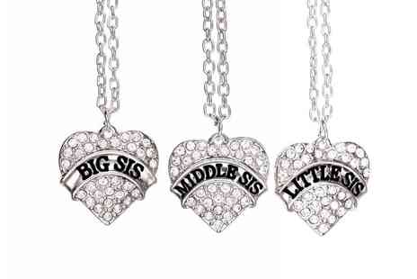 Solo Act - Crystal heart shaped sister necklace with Little Sis, Middle Sis or Big Sis - Save 0%