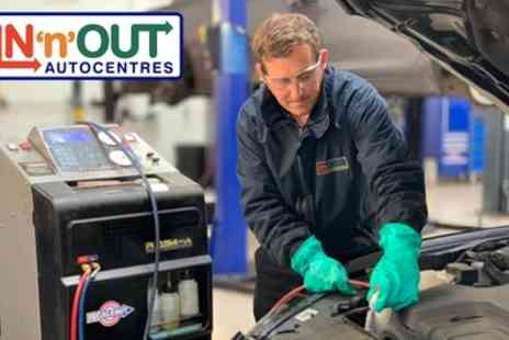 IN n OUT Autocentres - Air Con Recharge with Optional Anti Bacterial Cleaning - Save 34%