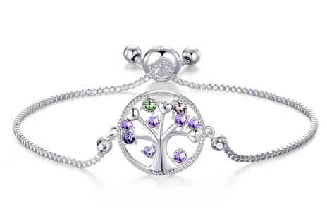 Philip Jones - Silver Chakra Tree of Life bracelet made with crystals from Swarovski - Save 0%