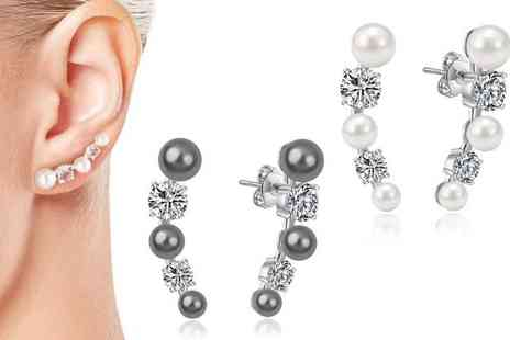 Silver Supermarket - Pair of pearl climber earrings in white, grey or black - Save 0%