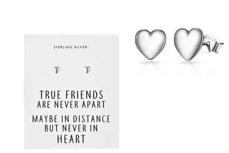 Silver Supermarket - Pair of Philip Jones sterling silver friendship quote earrings - Save 0%