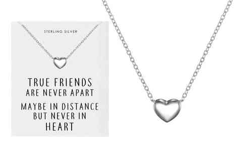 Philip Jones Jewellery - Friendship quote heart sterling silver necklace - Save 0%