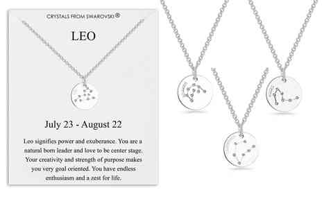 Silver Supermarket - Star sign disc necklace created with Swarovski Crystals - Save 0%