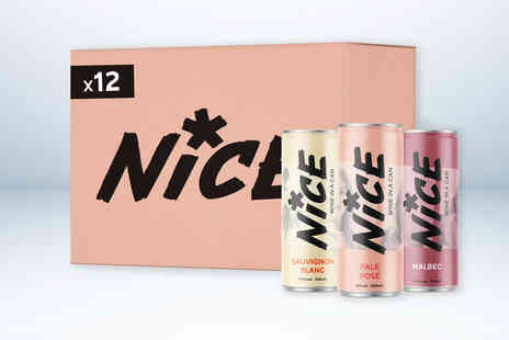 Nice Drinks - Case of 12 mixed canned wine including Sauvignon Blanc Pale Rose and Malbec - Save 0%
